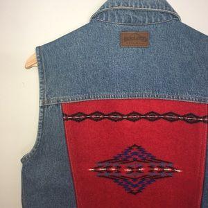 Pendleton Denim Vest Jean Jacket Wool Insert
